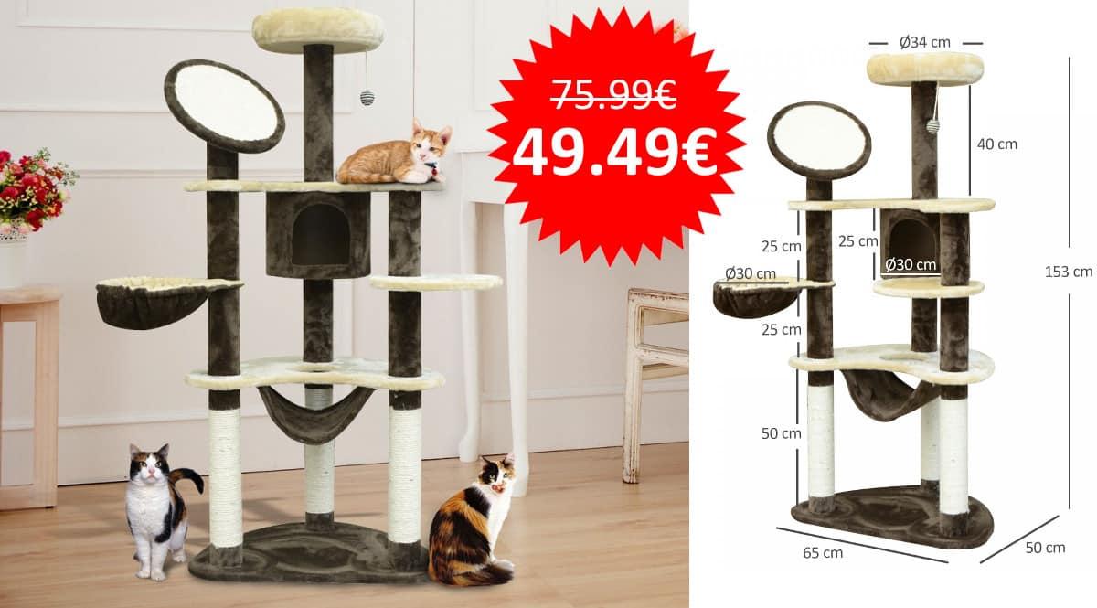 ¡¡Chollo!! Árbol rascador PawHut para gatos de 153cm de altura sólo 49 euros. Excelentes valoraciones.