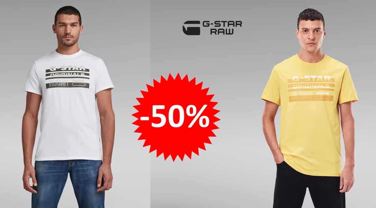 ¡Precio mínimo histórico! Camiseta para hombre G-STAR RAW Originals Stripe Logo sólo 14.97 euros. 50% de descuento. En amarillo y en blanco.