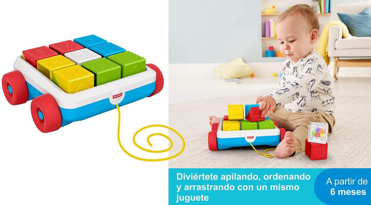 Carrito de arrastre con bloques de actividad Fisher Price barato, juguetes de marca baratos, ofertas para niños, chollo