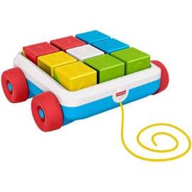 Carrito de arrastre con bloques de actividad Fisher Price barato, juguetes de marca baratos, ofertas para niños