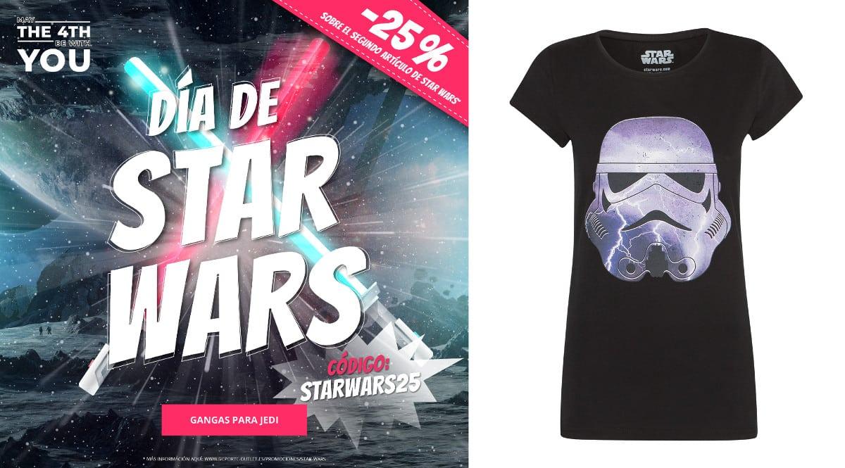 ¡Día de Star Wars en Deporte Outlet! 25% de descuento EXTRA comprando dos prendas. Hasta un 80% de descuento. ¡Sólo hoy!