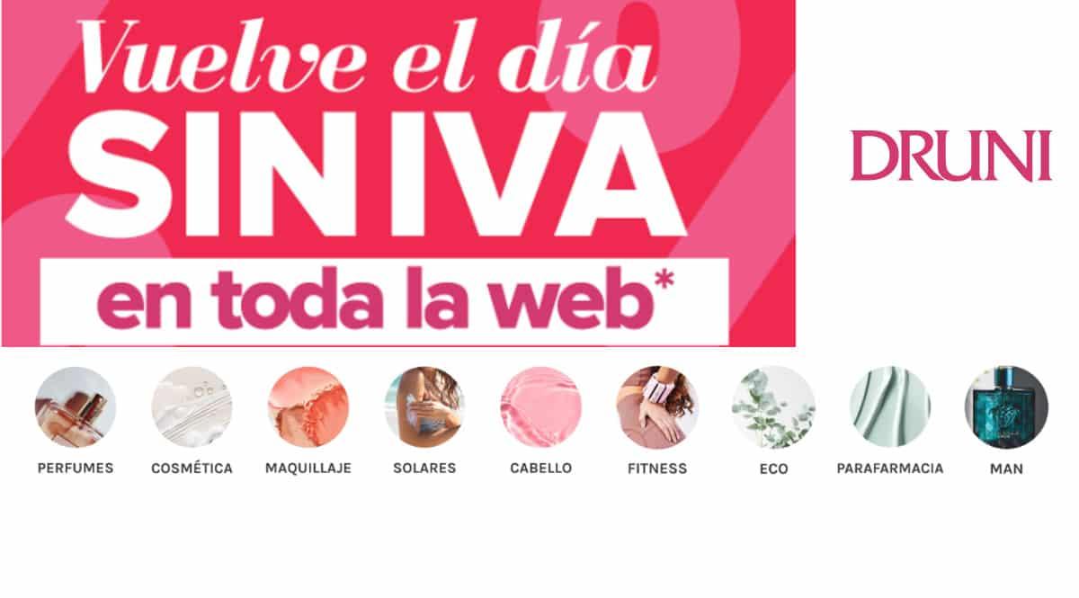 Día sin Iva Druni, cosméticos, perfumes de marca baratos, ofertas en belleza, chollo