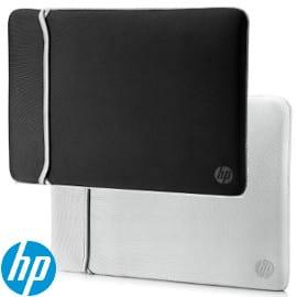 ¡¡Chollo!! Funda de neopreno reversible negro/plata HP para portátiles de hasta 14″ sólo 8.99 euros.