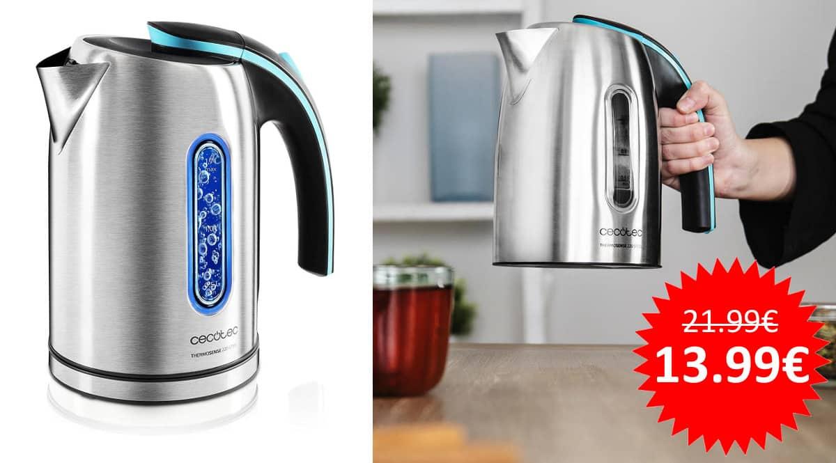 ¡¡Chollo!! Hervidor de agua eléctrico Cecotec ThermoSense 220 Steel sólo 13.99 euros.