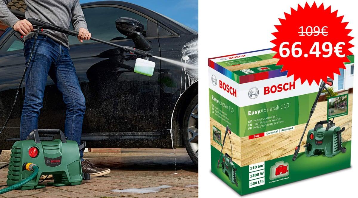 ¡Sólo hoy! Hidrolimpiadora de alta presión Bosch EasyAquatak 110 sólo 66 euros. Te ahorras 42 euros.