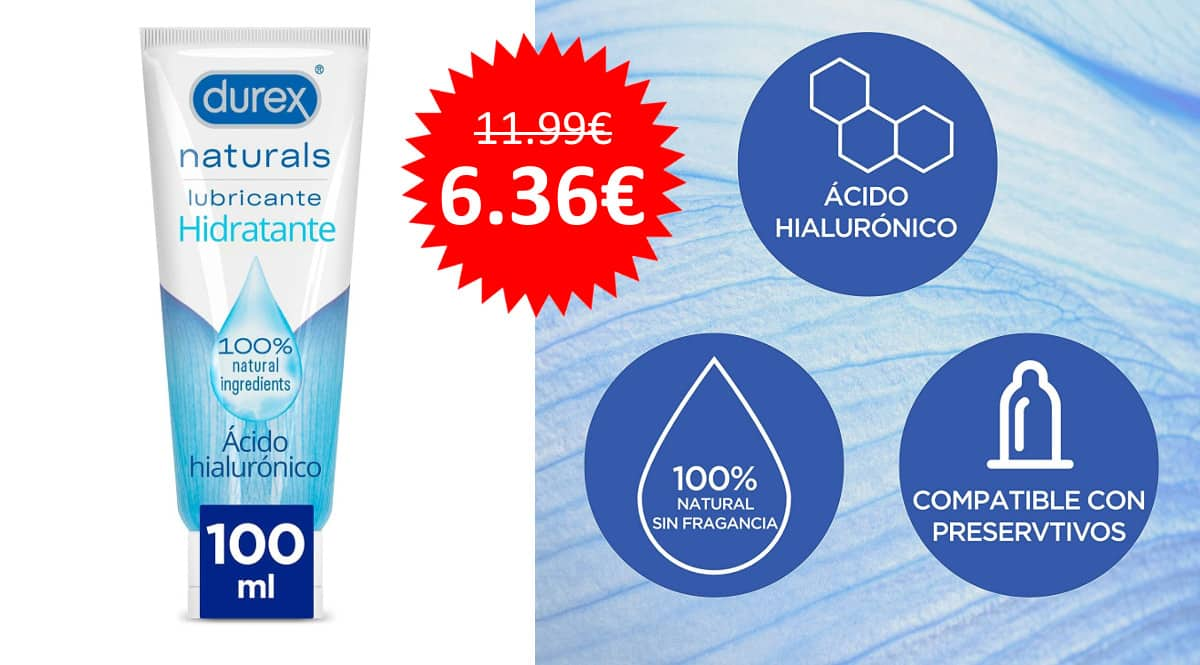 ¡Precio mínimo histórico! Lubricante hidratante 100ml Durex Naturals sólo 6.36 euros.