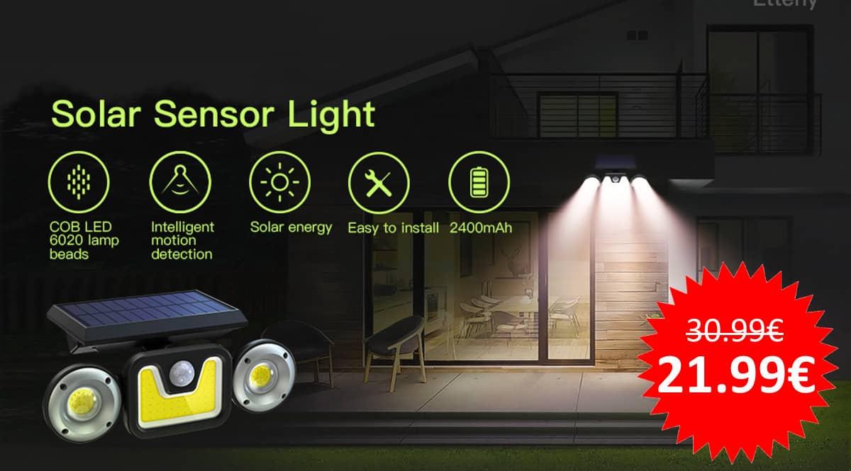 ¡Código descuento exclusivo! Pack de 2 luces solares LED para exterior sólo 21.99 euros.