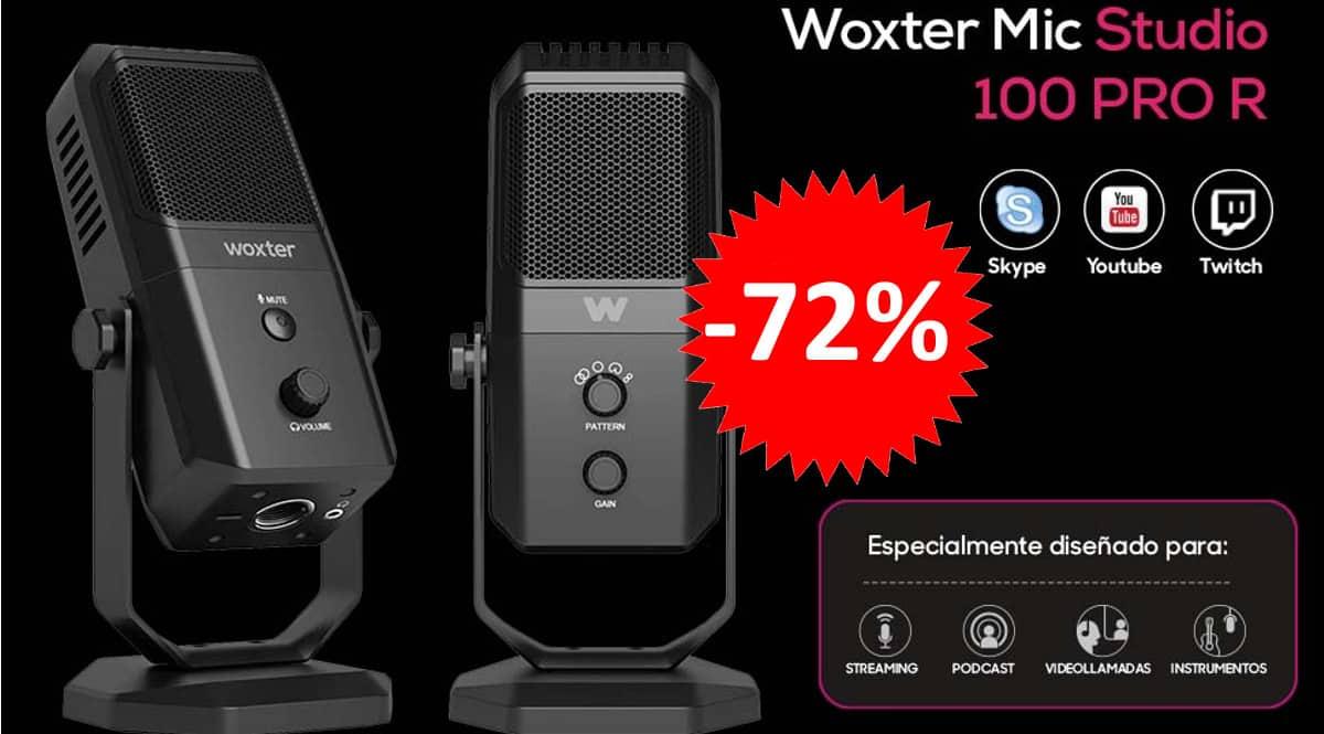 ¡Precio mínimo histórico! Micrófono de condensación Woxter Mic Studio 100 Pro sólo 25 euros. 72% de descuento.
