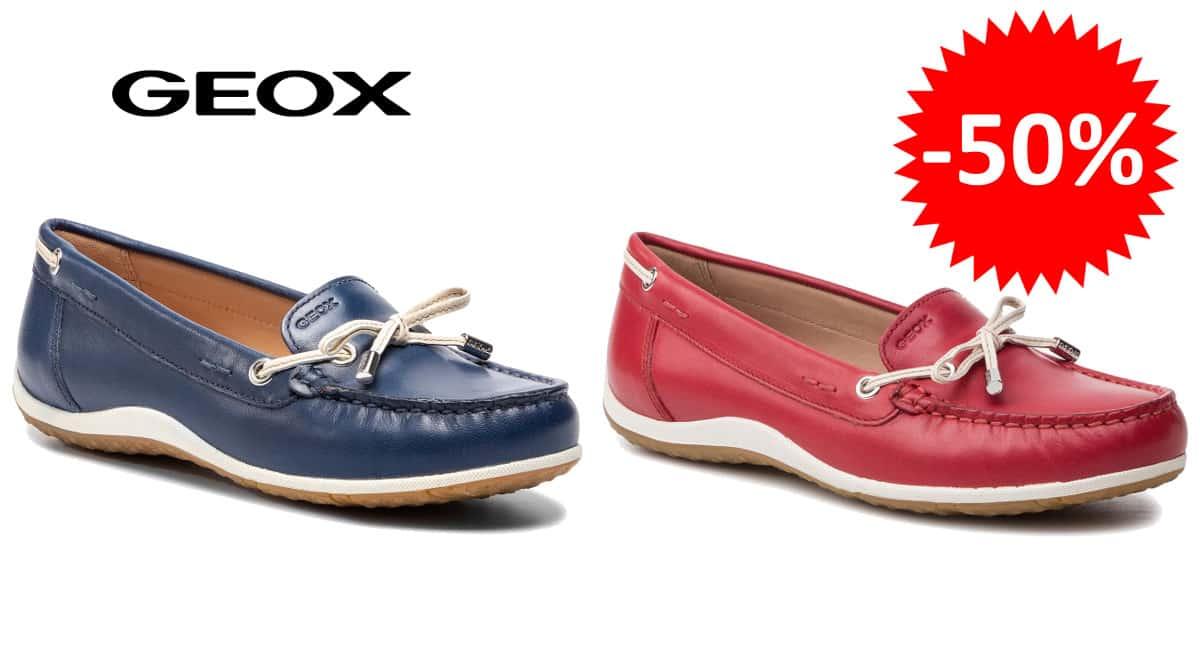 ¡¡Chollo!! Mocasines de mujer Geox Vega sólo 44.95 euros. 50% de descuento. En azul y en rojo.