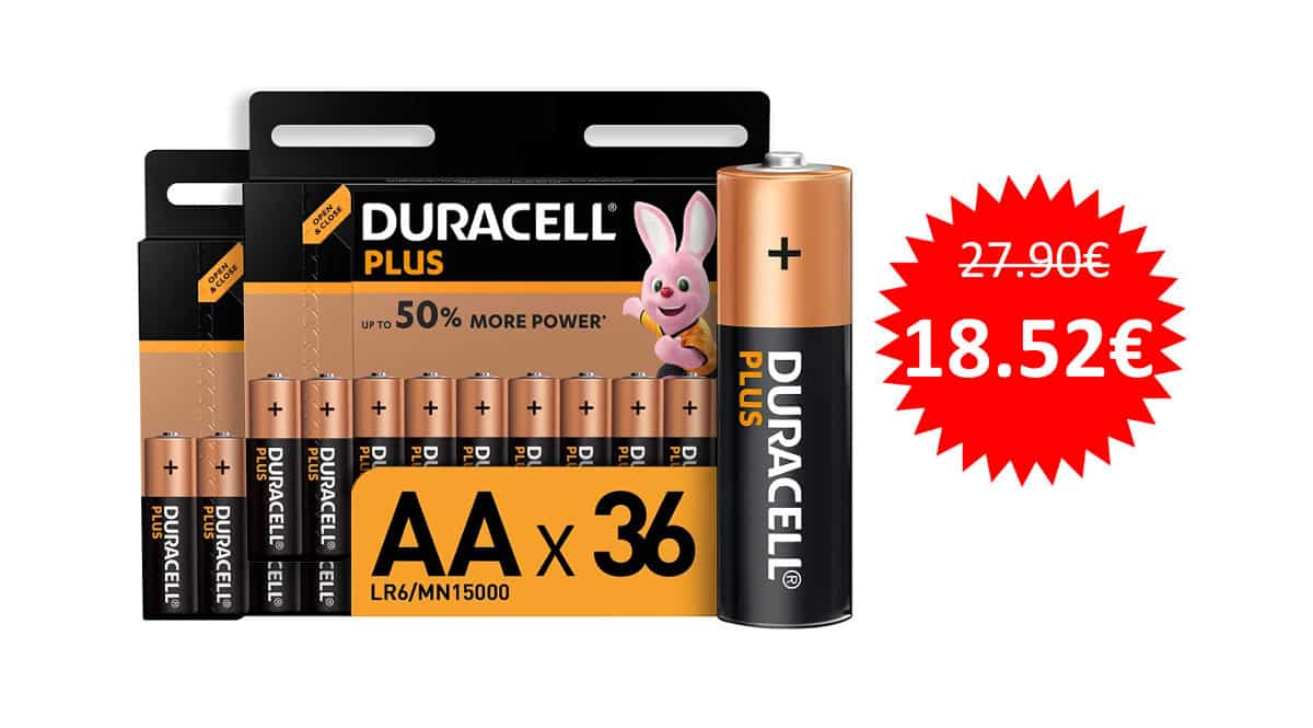 Pack 36 pilas alcalinas Duracell Plus AA baratas. Ofertas en pilas, pilas baratas, chollo