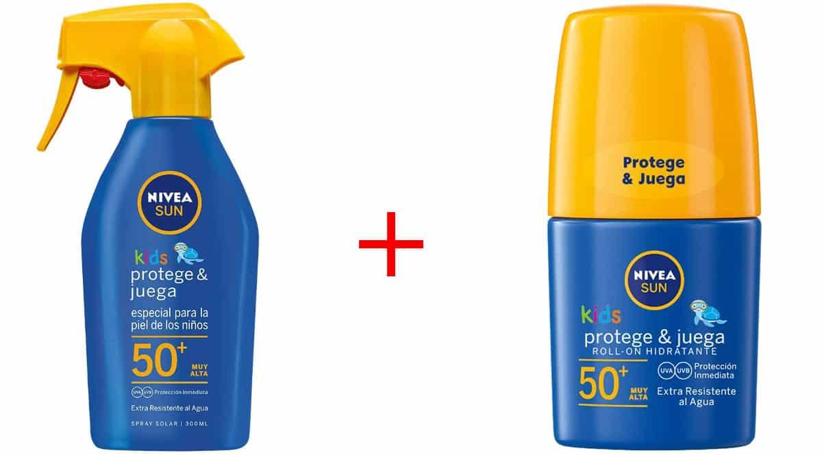 Pack Nivea Sun Kids SFP50+ para niños con Roll-On + leche solar en spray barato, protectores solares baratos, ofertas en cremas, chollo