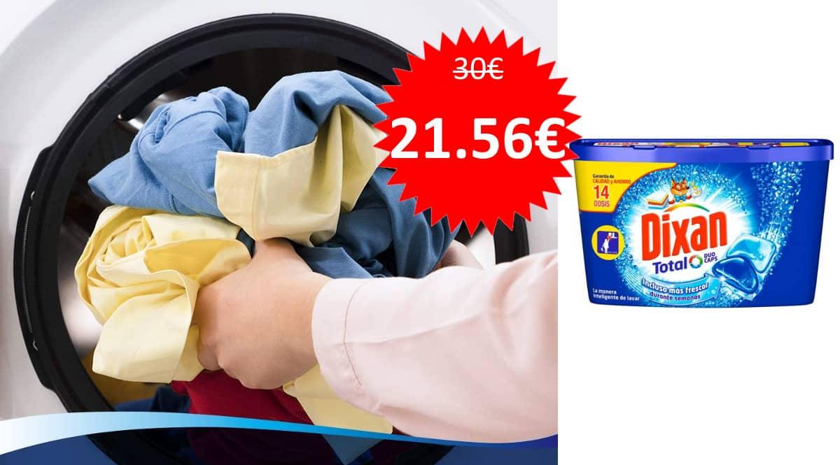 Pack de 112 cápsulas de detergente Dixan Total barato. Ofertas en supermercado, chollo