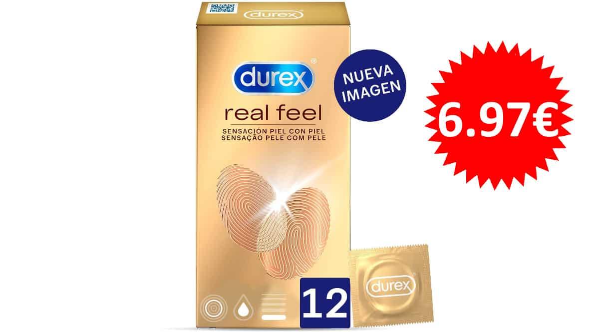 Pack de 12 preservativos sensitivos Durex Real Feel baratos, preservativos de marca baratos, ofertas en condones, chollo
