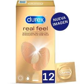 Pack de 12 preservativos sensitivos Durex Real Feel baratos, preservativos de marca baratos, ofertas en condones