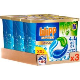 Pack de 150 cápsulas de detergente Wipp Express Discs barato. Ofertas en supermercado