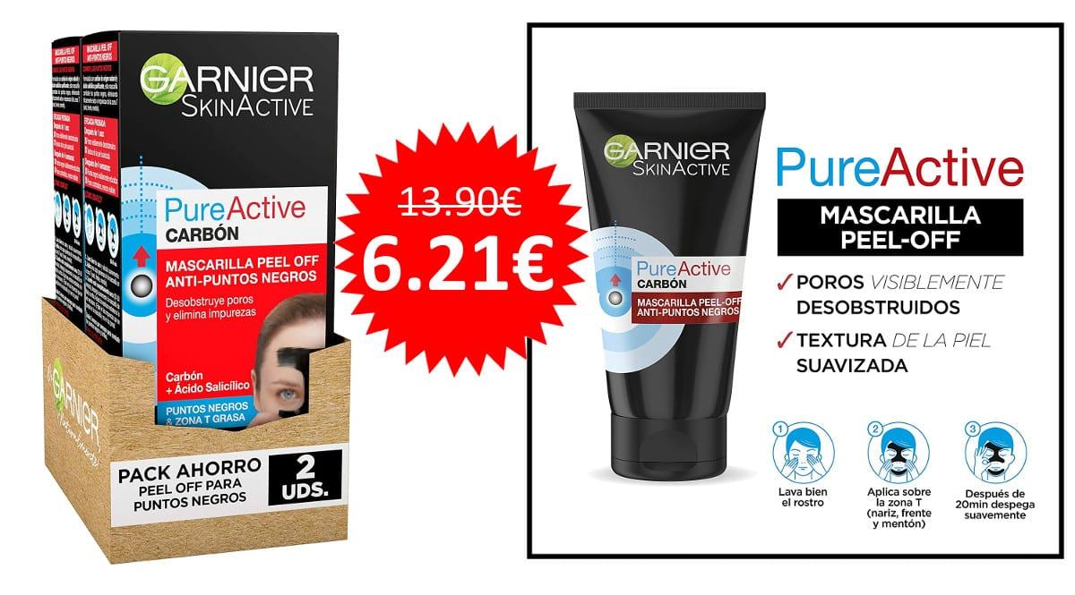 ¡Precio mínimo histórico! Pack de 2 mascarillas Garnier Pure Active Peel Off anti puntos negros sólo 6.21 euros. 55% de descuento.