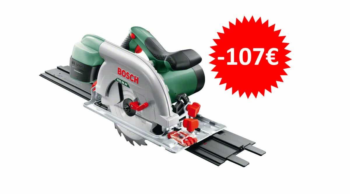 ¡Sólo hoy! Sierra circular Bosch PKS 66 AF con carril guía sólo 115 euros. Te ahorras 107 euros.