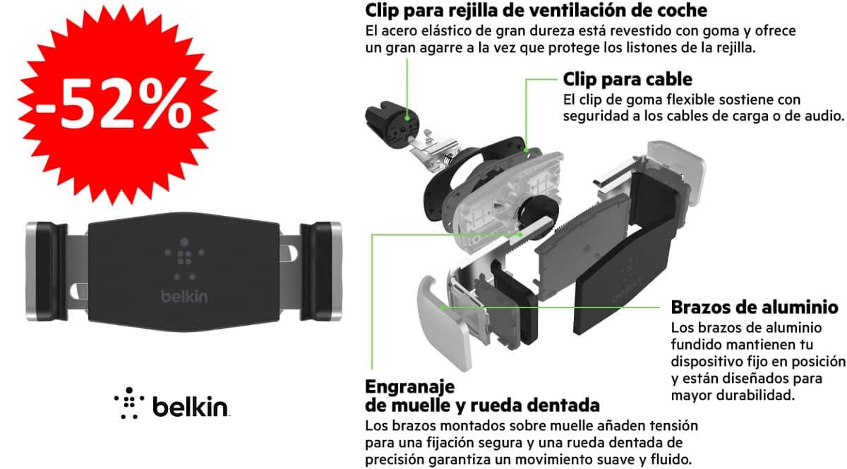 ¡¡Chollo!! Soporte de coche Belkin para móviles de hasta 5.5″ sólo 11.89 euros. 52% de descuento.