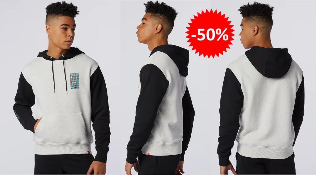 Sudadera New Balance Essentials Terrain Hoodie barata, ropa de marca barata, ofertas en sudaderas chollo
