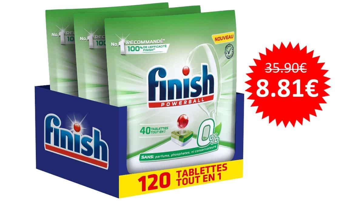 ¡Precio mínimo histórico! 120 pastillas de detergente para lavavajillas Finish Powerball 0% sólo 8.81 euros. 75% de descuento.