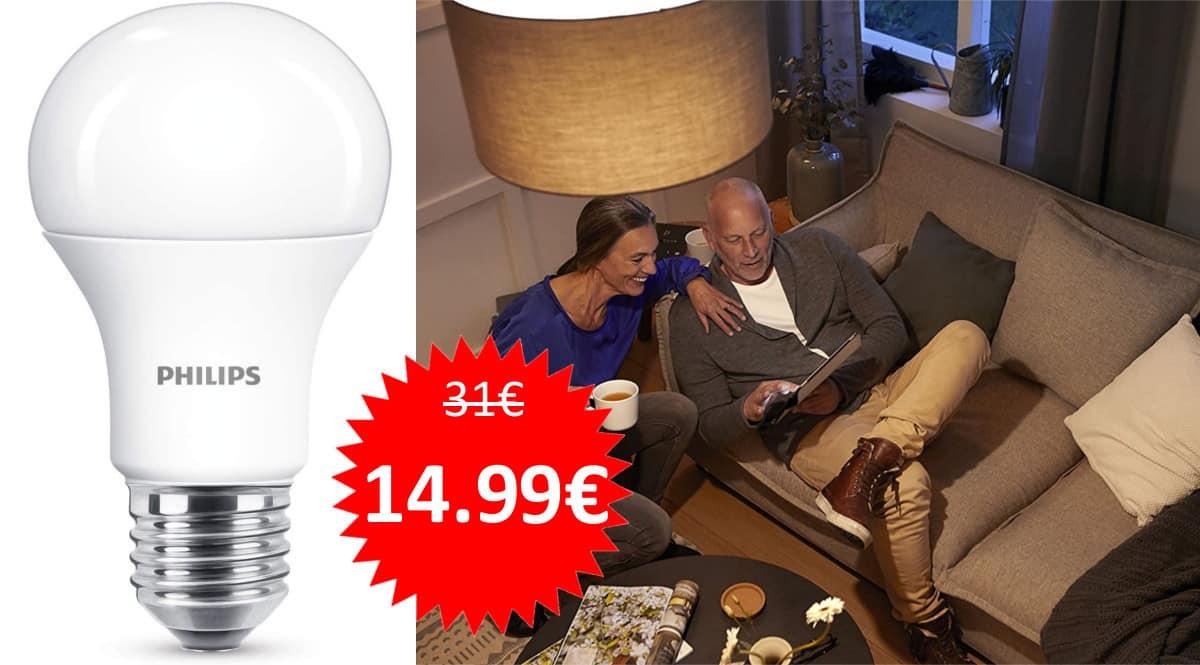 ¡Precio mínimo histórico! 6 bombillas Philips LED 11W (equivalentes a 75W) sólo 14.99 euros.