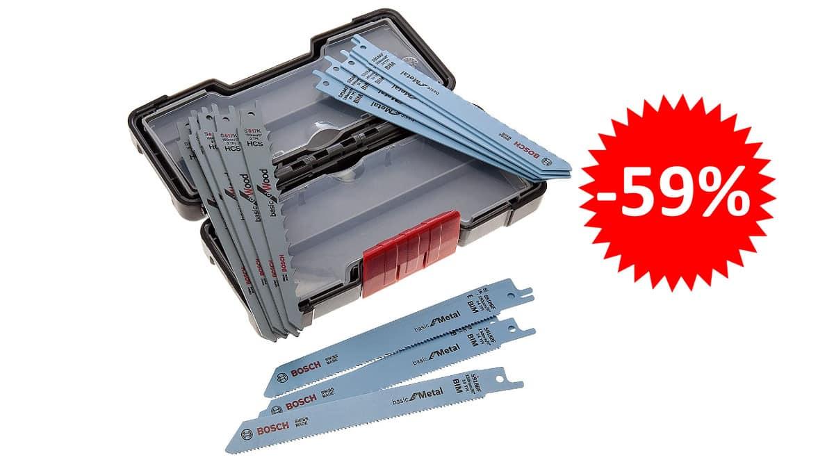 ¡¡Chollo!! Bosch Professional Set Toughbox con 15 hojas de sierra sable para madera y metal sólo 21 euros. 59% de descuento.