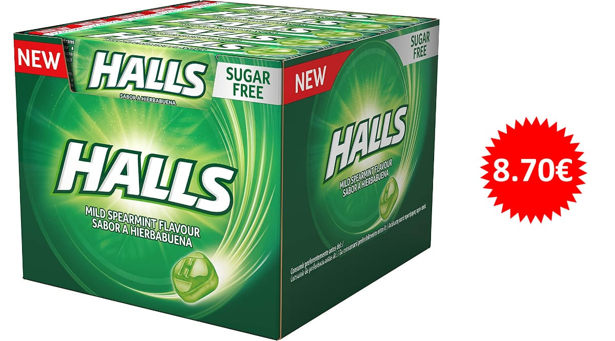 Caja de 20 paquetes de caramelos Halls de menta sin azúcar baratos, caramelos baratos, ofertas en supermercado chollo