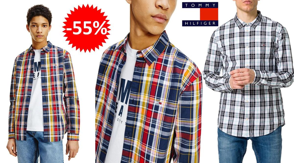 Camisa Tommy Jeans Seasonal Check barata, camisas de marca baratas, ofertas en ropa, chollo