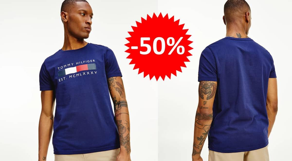 ¡Precio mínimo histórico! Camiseta Tommy Hilfiger Logo Box Stripe sólo 19.95 euros. 50% de descuento.