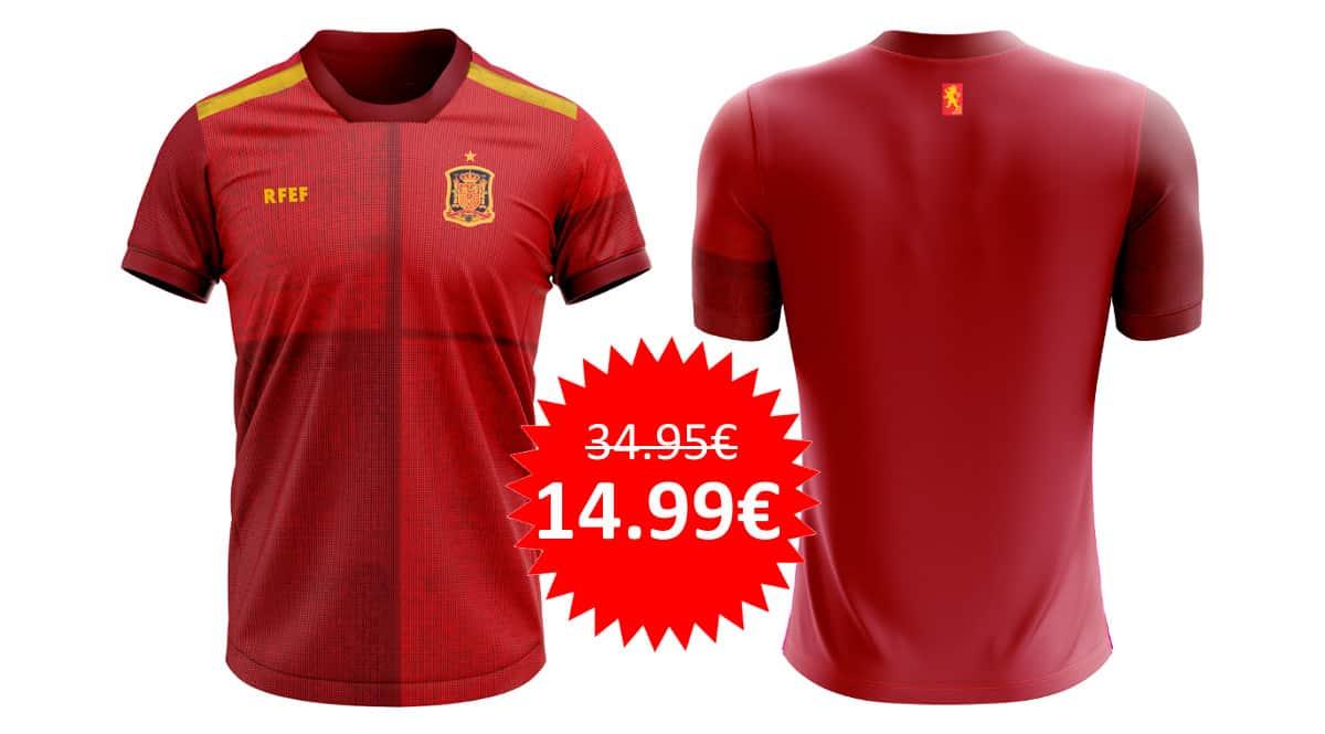 ¡Precio mínimo histórico! Camiseta réplica oficial de la primera equipación de la Selección Española 2020 sólo 14.99 euros. 57% de descuento.