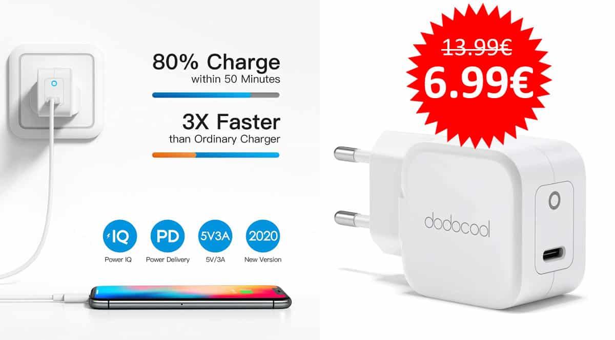 ¡Código descuento! Cargador USB-C para iPhone Dodocool 20W sólo 6.99 euros. 50% de descuento.