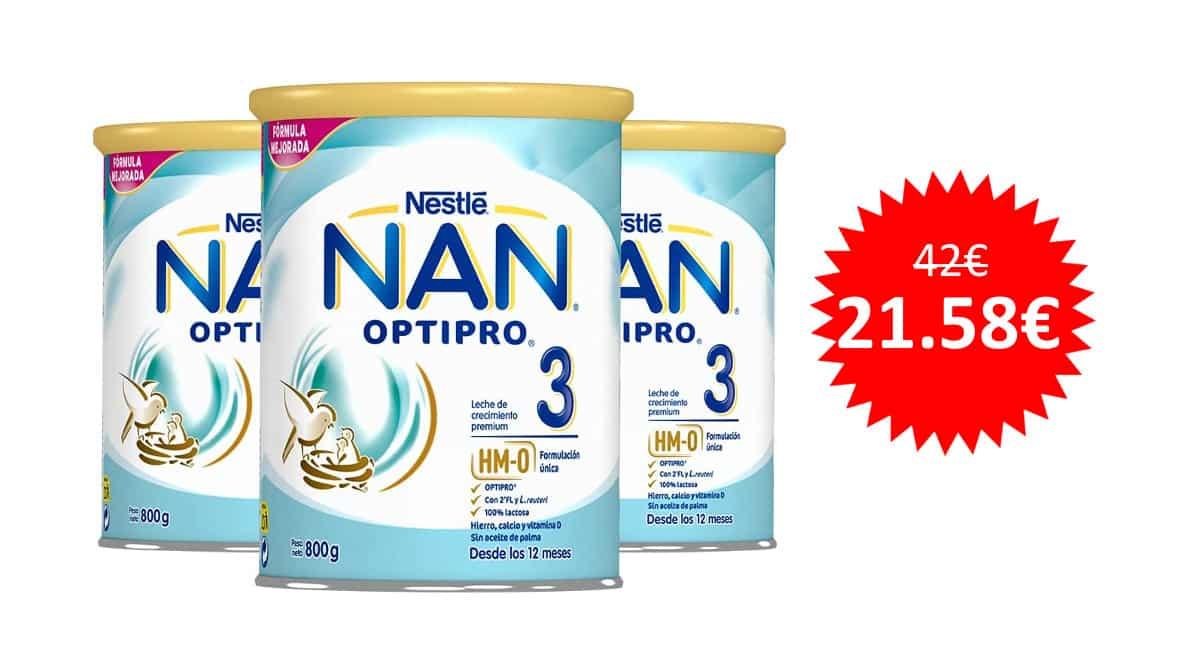 ¡Precio mínimo histórico! 3 latas de 800gr de leche de crecimiento en polvo Nestlé Nan Optipro 3 sólo 21 euros.