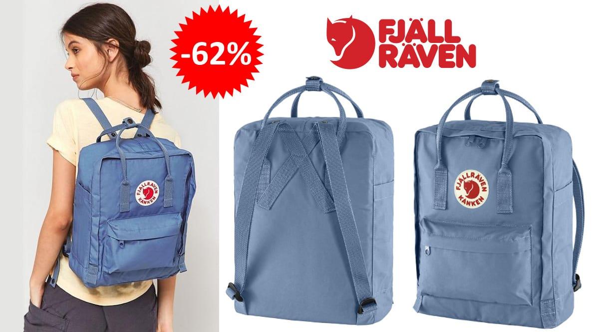 Mochila Fjallraven Kånken azul, mochilas de marca baratas, ofertas en complementos chollo