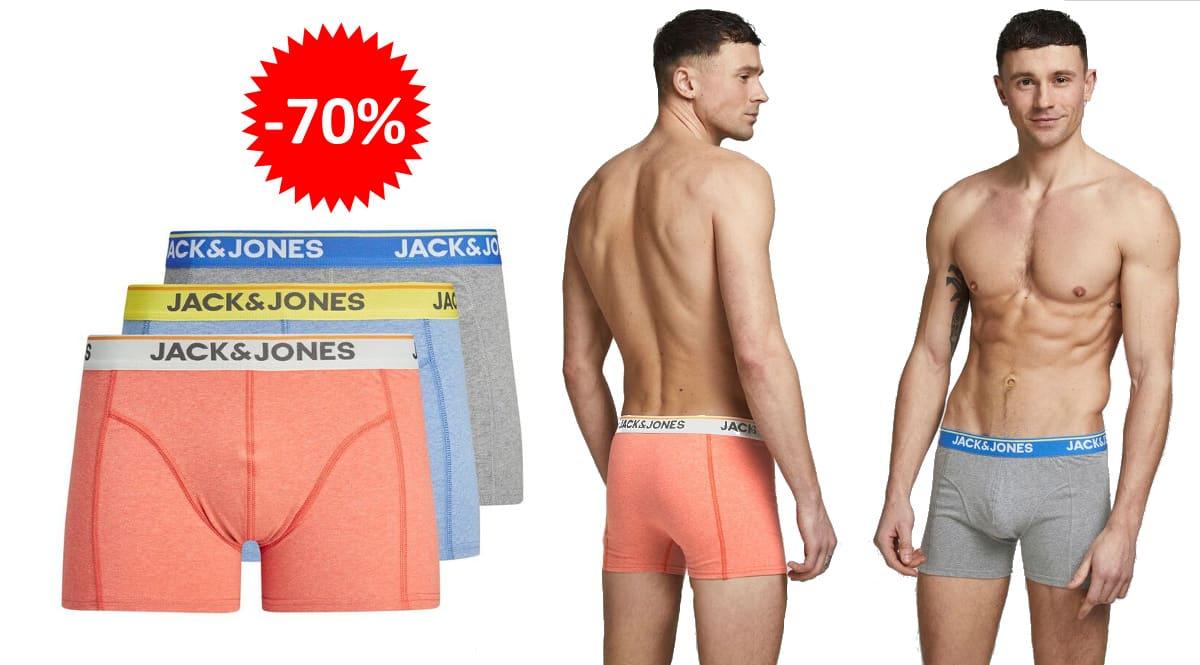 Pack de 3 boxers Jack & Jones Milton baratos, ropa de marca barata, ofertas en ropa interior chollo1