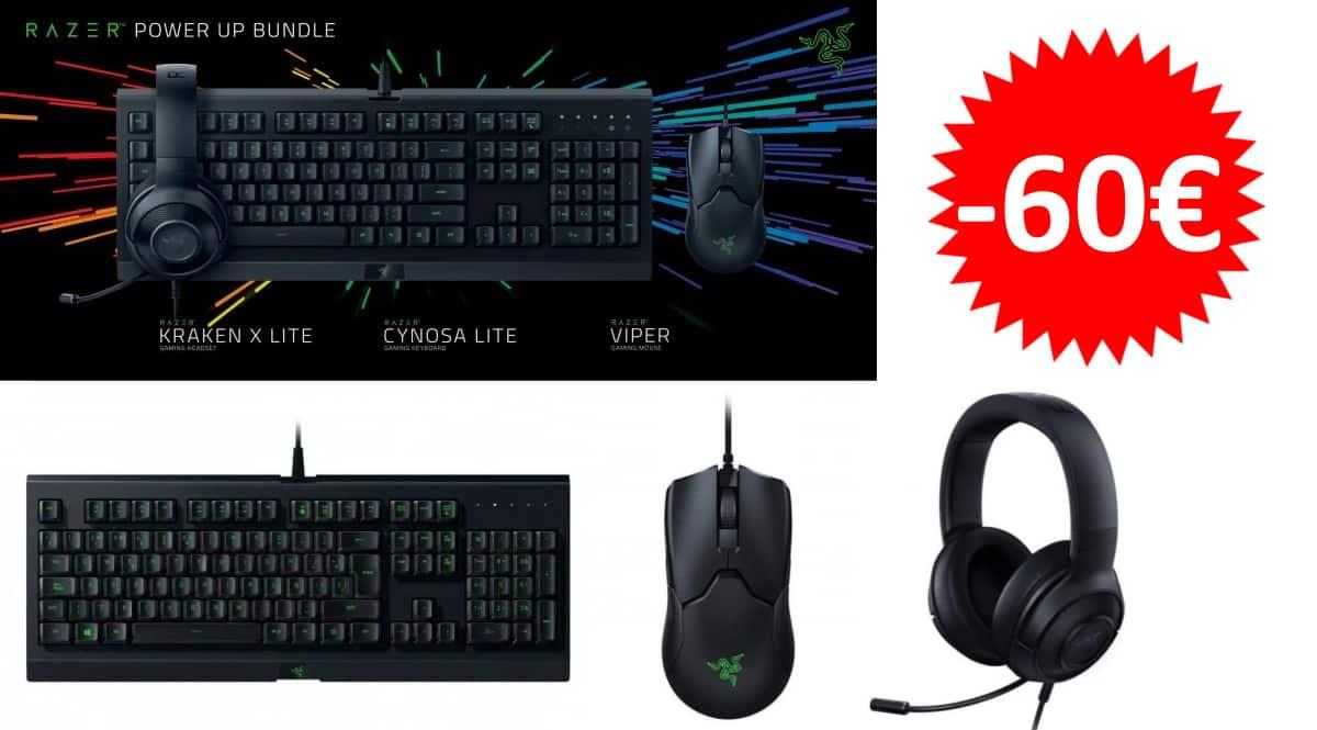 Pack de teclado, ratón y auriculare Razer Power Up Bundle barato. Ofertas en accesorios gamer, accesorios gaming baratos, chollo