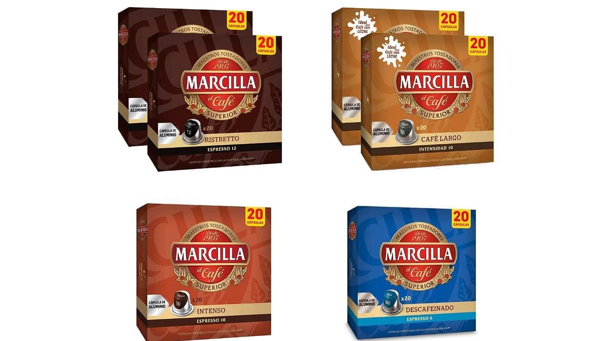Paquete de cápsulas de café variadas Marcilla Nespresso baratas, cápsulas para café baratas, ofertas en supermercado, chollo