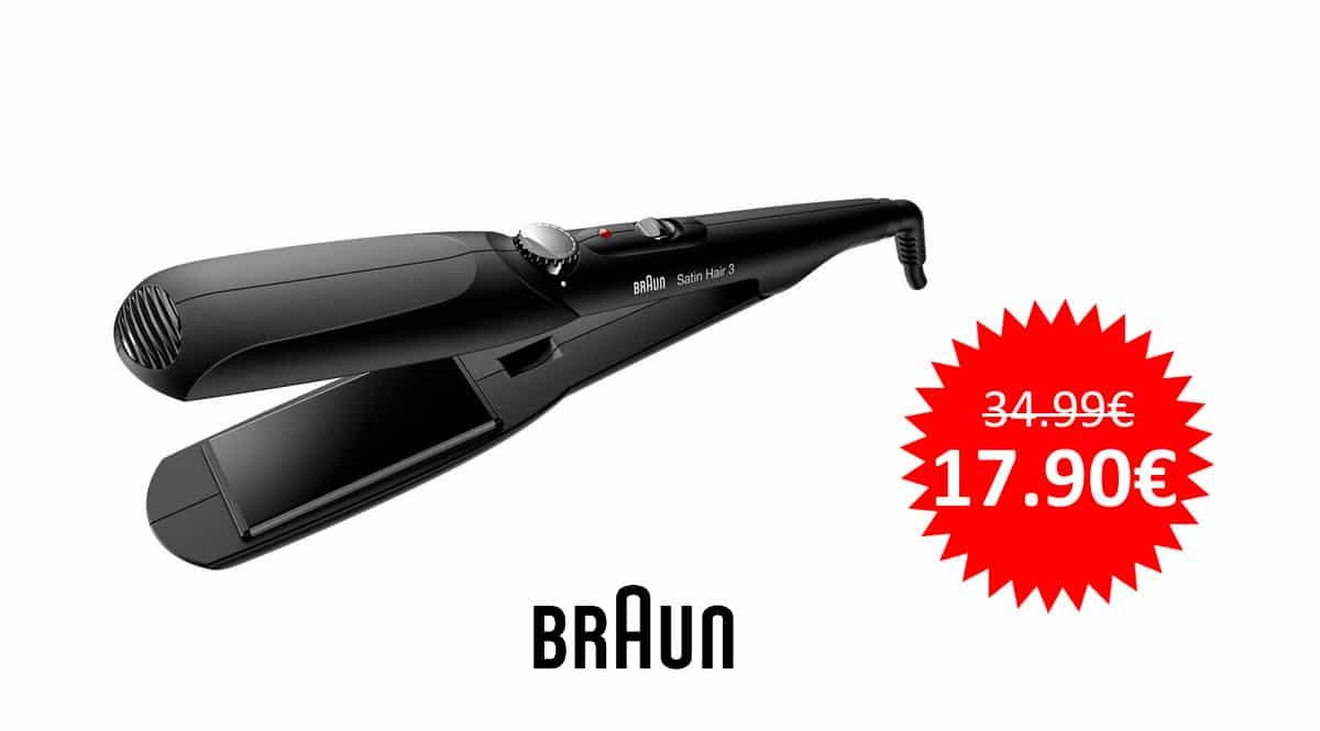 ¡Precio mínimo histórico! Plancha de pelo Braun Satin Hair 3 ST310 sólo 17.90 euros. Mitad de precio.