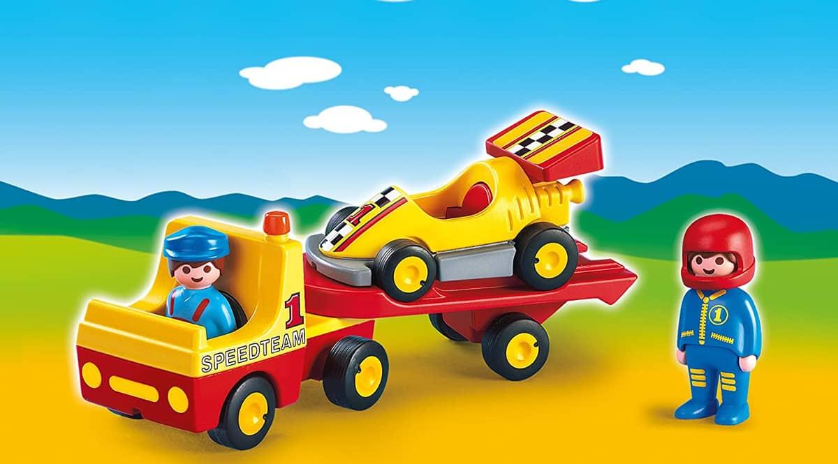 Playmobil 1.2.3 Coche de Carreras con Camión barato, juguetes de marca baratos, ofertas para niños, chollo
