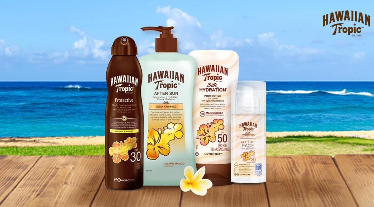 Protectores solares Hawaiian Tropic baratos, cremas solares baratas, ofertas en belleza, chollo