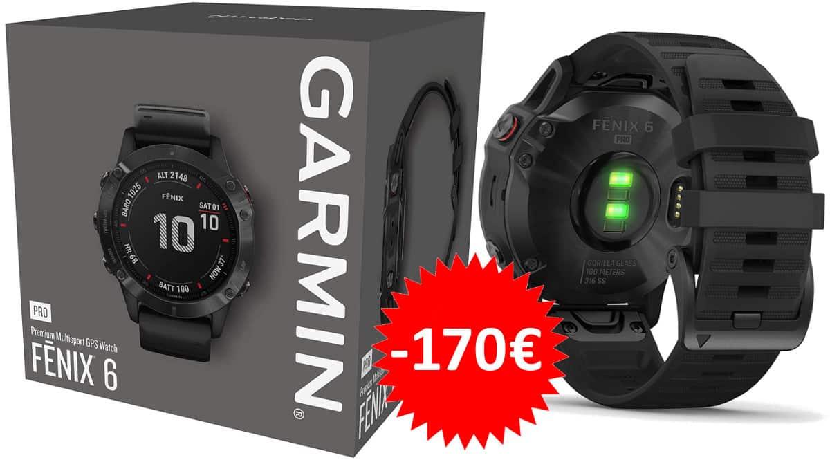 ¡¡Chollo!! Reloj deportivo pulsómetro GPS Garmin Fenix 6 Pro sólo 479 euros. Te ahorras 170 euros.