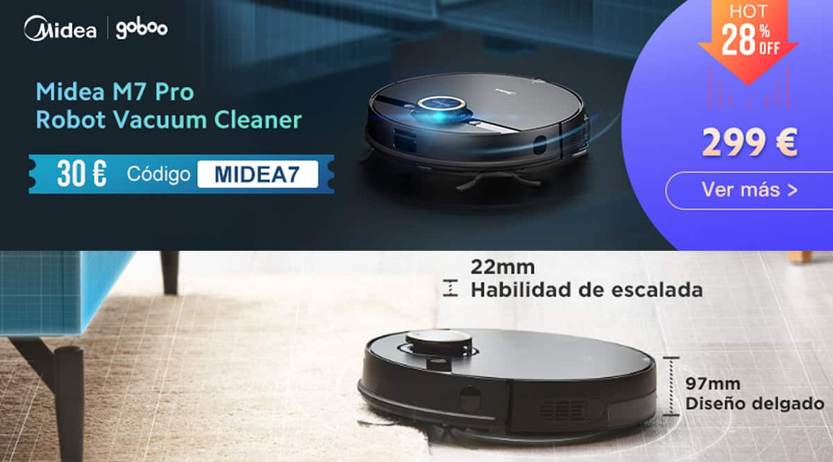 Robot aspirador Midea M7 Pro barato, ofertas en robots aspiradores, robots aspiradores baratos, chollo