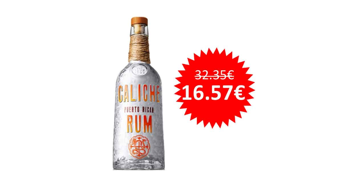¡Precio mínimo histórico! Ron blanco puertorriqueño Don Q Caliche 70cl sólo 16.57 euros. Mitad de precio.