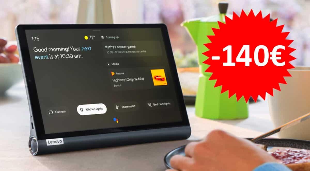 ¡Código descuento exclusivo! Tablet Lenovo Yoga Smart Tab 10 4/64GB sólo 159 euros. Ahórrate 140 euros.