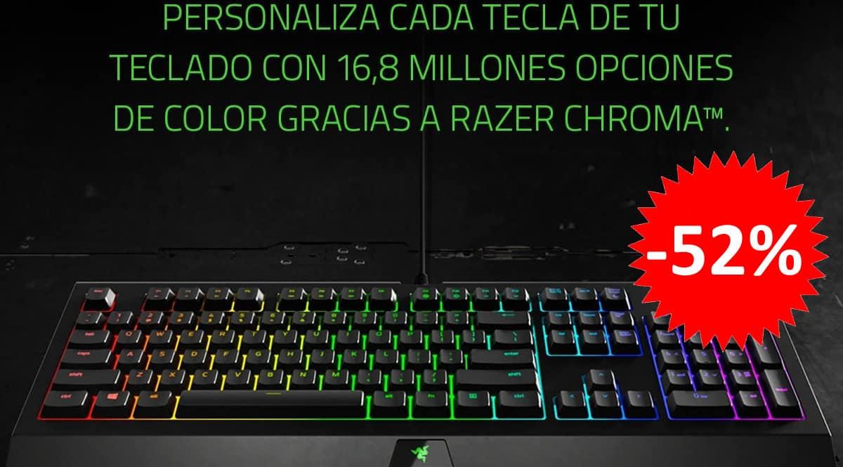 ¡Código descuento! Teclado gaming Razer Cynosa Chroma sólo 33 euros. 52% de descuento.