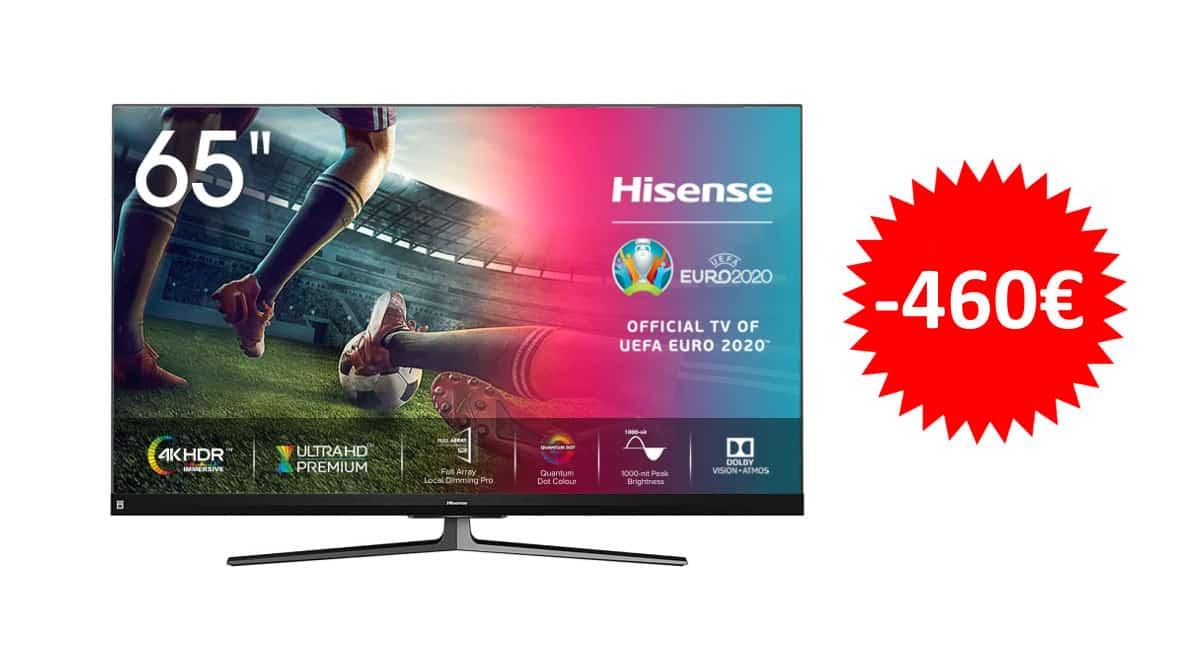 ¡Código descuento! Televisor Hisense ULED 2020 65U8QF de 65″ sólo 729 euros. Te ahorras 460 euros.