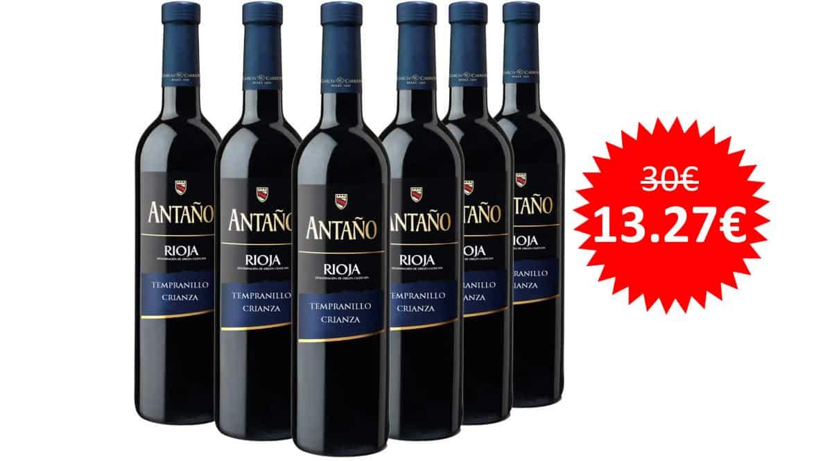 ¡Precio mínimo histórico! 6 botellas de vino tinto La Rioja Antaño crianza sólo 13.27 euros. 56% de descuento.