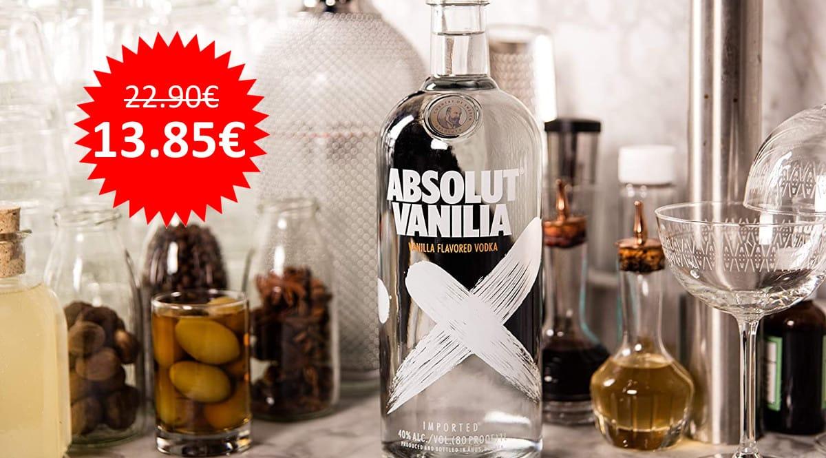¡Precio mínimo histórico! Vodka Absolut Vanilia 1L sólo 13.85 euros.