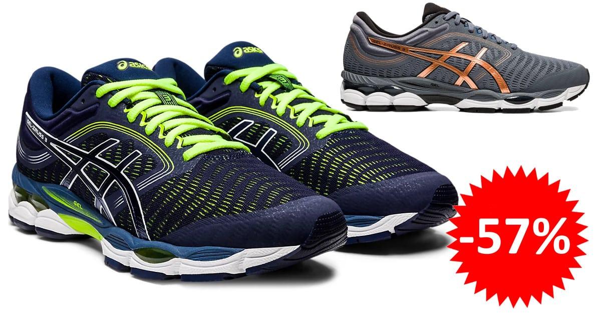 ¡Código descuento! Zapatillas de running para hombre Asics GEL-ZIRUSS 3 sólo 68 euros. 57% de descuento. En azul y en gris.