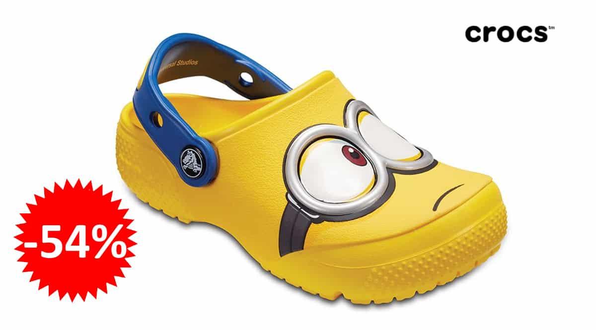Zuecos Crocs Fun Lab Minions Clog K baratos, zuecos de marca baratos, ofertas en calzado infantil, chollo