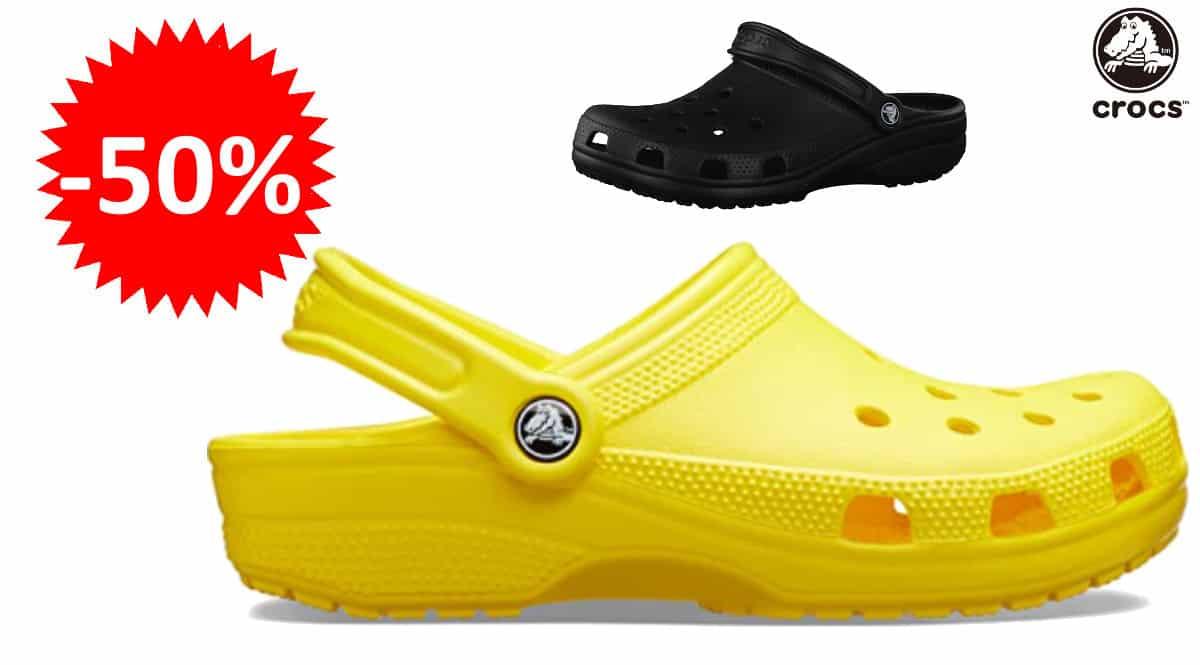 ¡¡Chollo!! Zuecos unisex Crocs Classic sólo 20.29 euros. 50% de descuento. En amarillo y en negro.